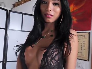 Gorgeous Italian Tranny Gets Cum Covered In Steamy Fuck Vporn Com